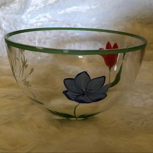 """🆕🎉NWOT🎉10"""" Hand-Painted Floral Glass Bowl"""